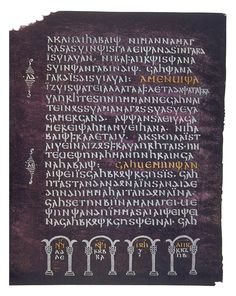 A page from the Codex Argenteus, a century bible manuscript in Gothic-->The Gothic alphabet, devised in the century AD to write the Gothic language, based on a combination of Greek and Latin models. Gotisches Alphabet, Gothic Alphabet, Greek Alphabet, Medieval Manuscript, Illuminated Manuscript, Four Gospels, Modern Gothic, Empire Romain, Alphabet