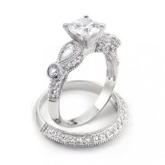 Bling Jewelry Vintage Wedding Engagement Ring Set Round 2-ct CZ Teardrop Sidestones Sterling Silver
