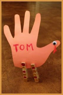 Handprint Turkey Thanksgiving Place Card!