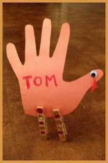 Handprint Turkey Thanksgiving Place Card!