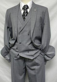f5ad46839f9 Stacy Adams Mens Grey Plaid Mash DB Vest 3 Piece Suit 5228-001 Wedding Suits