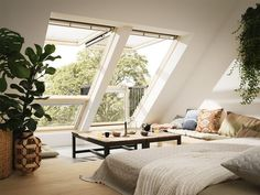 Loft Conversion inspiration to the max. This Living Room features Velux Cabrio balcony windows. When open they create a small balcony area giving you more head height and creating a feeling of space and a connection to the outside. Attic Master Bedroom, Attic Bedroom Designs, Attic Bedrooms, Bedroom Loft, Attic Bathroom, Attic Design, Loft Design, Bedroom Storage, Attic Living Rooms