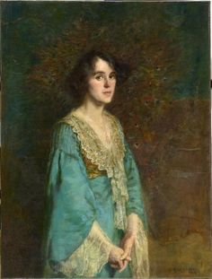 Study in blue and gold: Frederick McCubbin, 1907 National Gallery of Victoria, Melbourne. Woman Painting, Artist Painting, Artist Art, Australian Painting, Australian Artists, Australian Vintage, Australian Fashion, Impressionist Artists, Classic Paintings