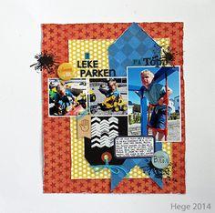 Stilig layout fra Hege. Hun har brukt flere ark, stempler, dotter og buttons fra Papirdesign