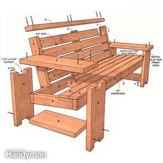 Perfect Patio Combo: Wooden Bench Plans With Built-in End Table   Family Handyman