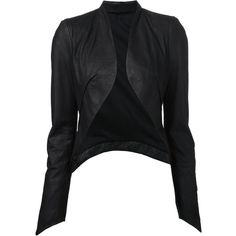 Isabel Benenato cropped leather jacket (7,110 CNY) ❤ liked on Polyvore featuring outerwear, jackets, coats, leather jackets, tops, black, open front jacket, shawl collar leather jacket, cropped leather jacket and black jacket