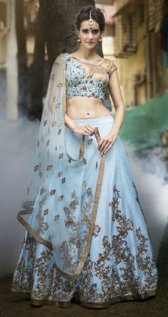 Blue and golden lehenga