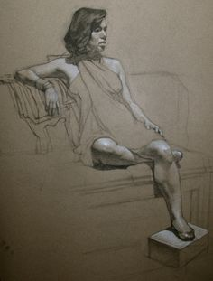 Julie charcoal on toned paper figure drawings and sketches by ef in 2019 ar Human Figure Drawing, Figure Sketching, Figure Drawings, Pencil Art Drawings, Art Drawings Sketches, Figure Painting, Painting & Drawing, Toned Paper, Anatomy Art