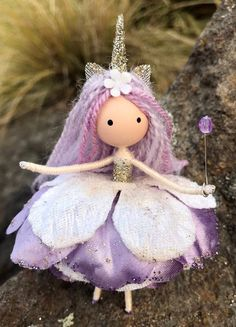 Excited to share the latest addition to my shop: Handmade Unicorn Fairy Doll Purple Unicorn Flower Fairy Doll Unicorn Rag Doll Fantasy Enchanted Forest Bendy Doll Fairy Crafts, Doll Crafts, Art For Kids, Crafts For Kids, Tsumtsum, Elves And Fairies, Purple Unicorn, Fairy Clothes, Clothespin Dolls