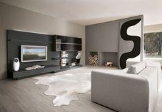 wohnzimmer holzboden graue möbel baumstumpf beistelltisch ...