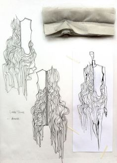 Fashion Sketchbook - fashion design drawings with fabric manipulation ideas fabric samples for development; Portfolio Design, Mode Portfolio Layout, Fashion Portfolio Layout, Fashion Design Sketchbook, Fashion Design Drawings, Fashion Sketches, Portfolio Book, Fashion Illustrations, Fashion Design Portfolios