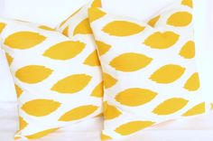 Yellow Ikat Pillows pair TWO 26x26 inch chipper cotton slub same fabric front and back FREE SHIP