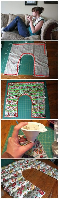 Glamumous: 65 Genius Gift Ideas to Make at Home Rice Shoulder Heating Pad, with Lavender Project. I've made just a basic neck wrap and it took li Sewing Hacks, Sewing Tutorials, Sewing Patterns, Sewing Ideas, Craft Gifts, Diy Gifts, Xmas Gifts, Shoulder Heating Pad, Fabric Crafts