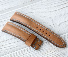 Make to order cream leather watch strap by VladislavKostetskyi