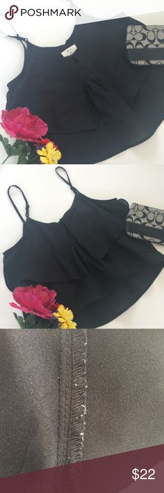 Urban Outfitters Black Crop Top XS Brand Pins & Needles from UO. 100% polyester. In great condition only a few Pillings on the inside of the fabric. I'm 5'4 and comes down right around my belly button. Length from strap to bottom is 17inches. Urban Outfitters Tops Crop Tops