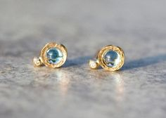 7c3969741 London Blue Topaz earrings, Round Blue Topaz Studs, Circle Gold earrings,  Topaz and Diamonds earrings, Handmade Topaz Earrings, Holiday Gift