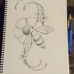 Bee flower sketch, art nouveau style Bee On Flower, Flower Sketches, Black And White Lines, Art Nouveau, How To Draw Hands, Original Art, Doodles, Sketch Art, Drawings
