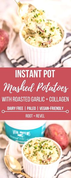 Wondering how to make instant pot mashed potatoes? Not only is this mashed potato recipe dairy free (vegan-friendly) and Paleo, but it's also super easy to make and bursting with flavor like sweet roasted garlic, nutty nutritional yeast and bright chives. Dairy Free Mashed Potatoes, Roasted Garlic Mashed Potatoes, Dairy Free Recipes, Whole Food Recipes, Healthy Recipes, Gluten Free, Whole30 Recipes, Healthy Meals, Instant Pot Pressure Cooker