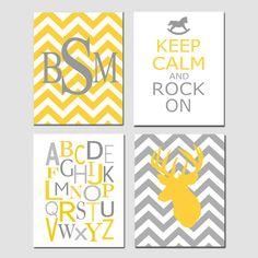 Love love love...Nursery Quad - Set of Four 8x10 Prints - Chevron Monogram, Keep Calm Rock On, Modern Alphabet, Chevron Deer - Yellow, Gray. $65.00, via Etsy.
