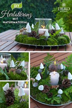 DIY: Design your own beautiful autumn decoration from natural material - . - DIY: design your own beautiful autumn decoration from natural material – apple pie – - Christmas Love, Christmas Wreaths, Christmas Decorations, First Day Of Winter, Deco Floral, Theme Noel, Autumn Wreaths, Diy Weihnachten, Diy Candles