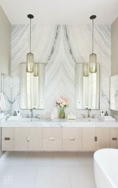 berwick master bath // marble wall bathroom // stone book matching // floating marble counter and white oak drawers