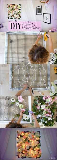 DIY Light-Up Flower Frame Backdrop. This minimalist DIY floral works of art. This project will look stunning displayed in teengirls' room.