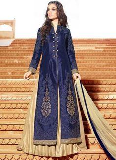 Navy Blue Embroidery Sequins Work Velvet Designer Anarkali  Salwar Kameez http://www.angelnx.com/Salwar-Kameez/Anarkali-Suits