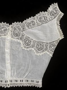 1890, England - Camisole by Queen Mary, consort of George V, King of England - Cotton trimmed with crochet lace