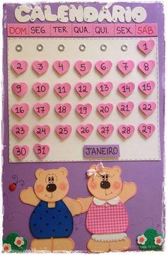 Calendario Ursinhos Kindergarten Teachers, Baby Time, Art Activities, 9 And 10, 3 D, Preschool, Classroom, Creative, Pictures