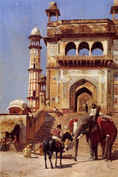 Edwin Lord Weeks (1849-1903) Before A Mosque Orientalism (19C romantic Western art vision of M.E./E Asia/N Africa)