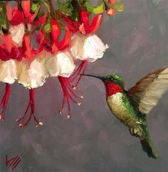 "Daily Paintworks - ""Hummingbird and Fushia"" - Original Fine Art for Sale - © Krista Eaton Bird Painting Acrylic, Oil Painting For Sale, Feather Painting, Painting & Drawing, Watercolor Flowers, Watercolor Paintings, African Art Paintings, Hummingbird Art, Bird Artwork"