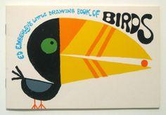 1973 Ed Emberley Little Drawing Book Birds Modern Children's Illustration