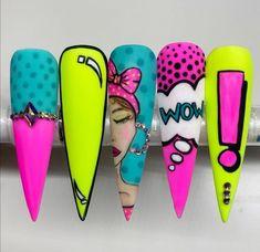 Crazy Nail Art, Crazy Nails, Funky Nails, Neon Nails, Dope Nails, Pastel Nails, Bling Nails, Ongles Pop Art, Pop Art Nails