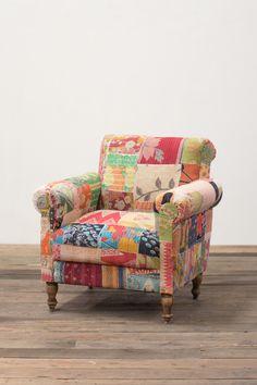 Gentil Remnant Fabric Vintage Patchwork Arm Chair