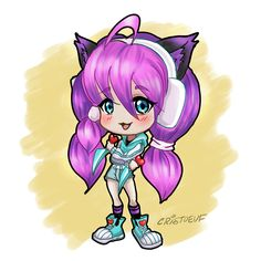 Illustration of Maeve Kawaii chibi from paladins game Cartoon Faces, Girl Cartoon, Cartoon Drawings, Easy Drawings, Kawaii Illustration, Illustration Sketches, Paladins Game, Spiderman Drawing, Goku Drawing