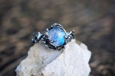 "Sterling Silver Rainbow Moonstone Ring ""Tenere"". Moonstone Engagement Ring, Delicat ring, Flower ring, Branch ring by NellyRomanova on Etsy"