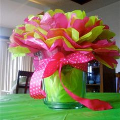 Birthday centerpiece .... All done with tissue paper.
