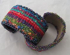 woven cuffs lovely boho gypsy, tribal mexican ethnic style textile art weaving to make cuff , bracelet accessory Más Fiber Art Jewelry, Textile Jewelry, Fabric Jewelry, Textile Art, Jewellery, Inkle Weaving, Inkle Loom, Bead Weaving, Fabric Bracelets