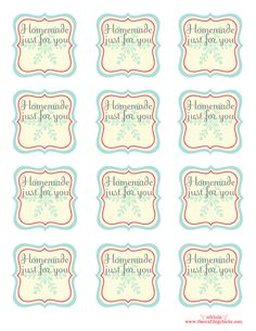 "Free printable blank homemade tags ""homemade just for you"" room to add from who or other shot note..."