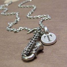 Saxophone Charm Necklace, Personalized Saxophone