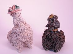 Vintage Pair Spaghetti Poodles, Very Fluffy, Show Dog Spaghetti Poodles, Hand Painted, Vintage Figurines, Ceramic Dogs by BessyBellVintage on Etsy