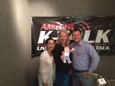Flat Bob and Laura Wall at KTALK radio giving an interview about the SADS Foundation.  Get your own Flat Bob to help us raise awareness!  www.StopSADS.org/flat-bob