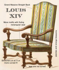 Louis XIV (1643-1715) - Baroque.  These chairs are more linear and more massive. Frequently they have motifs in tortoiseshell,  gilt bronze or silver.  Some may have classical motifs of fluting. These chairs were meant to impress!