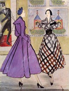 Illustration by Bernard Blossac for Christian Dior, 1948