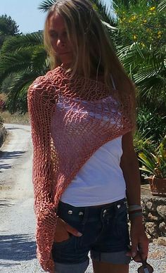 salmon pink shrug  summer cotton shrug -Loose weave Ltd Edition in this shade