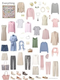 a capsule wardrobe in grey and beige with accents of pink, blue and green