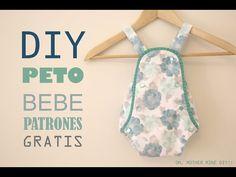 Tutorial y patrones: Pelele de lunares para bebe DIY - YouTube