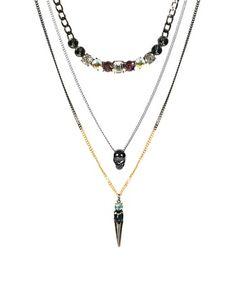 Imagen 1 de Pack de tres collares con calaveras y púas de ASOS