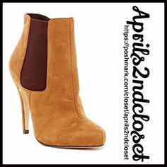 """BOOTS Vegan Suede Stiletto Heeled 💟NEW WITH TAGS💟 RETAIL PRICE: $70  BOOTS Heeled Booties   * Side stretch panel goring for easy on/off  * Solid vamp  * Almond toe & 4.25"""" high stiletto heels  * Faux suede vegan leather   * 4.5"""" high shaft & 9""""opening  * True to size  Fabric: Microfiber upper & Manmade sole Color: Tan & brown Item#93900 SEARCH # beige tan 🚫No Trades🚫 ✅ Offers Considered*✅ *Please use the blue 'offer' button to submit an offer. Boutique Shoes Ankle Boots & Booties"""