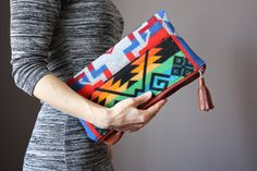 Leather fold over clutch, fold over  bag, fold over purse, Pendleton wool and leather clutch on Etsy, Sold